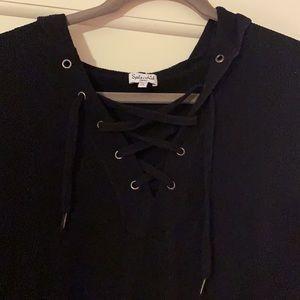 Splendid Waffle-Knit Black Long Sleeve Hoodie